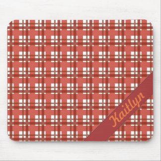 Tapis De Souris Nuances de motif en pastel rouge rouge de tartan