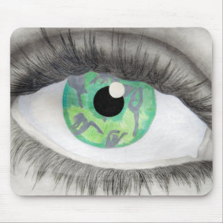Tapis De Souris Oeil vert avec des silhouettes de danseur dans