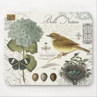 Tapis De Souris oiseau et nid français vintages modernes