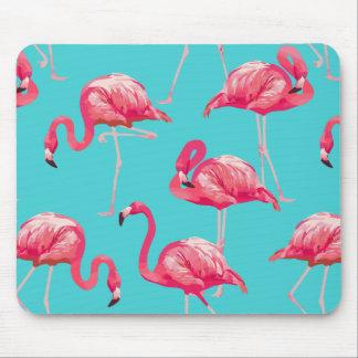 Tapis De Souris Oiseaux roses de flamant sur l'arrière - plan de