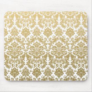 Tapis De Souris Or et motif élégant blanc de damassé
