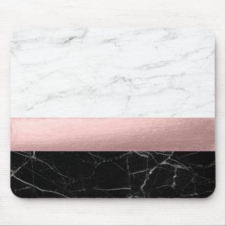 Tapis De Souris or rose de marbre blanc noir clair moderne élégant