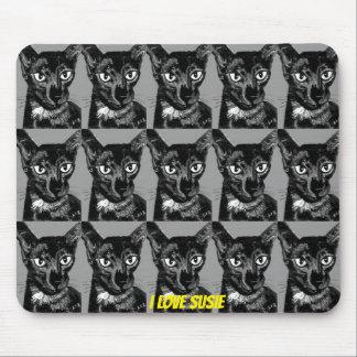 Tapis De Souris ~ oriental de chat de noir de ~ de SUSIE d'AMOUR