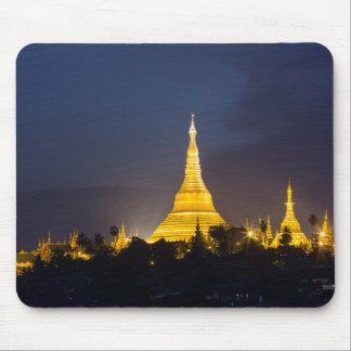 Tapis De Souris Pagoda de Shwedagon la nuit