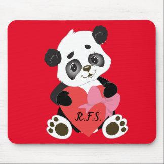 Tapis De Souris Panda de bébé avec le rouge de coeur