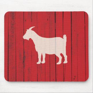 Tapis De Souris Panneau rouge en bois de grange de chèvre rustique