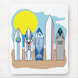 Tapis De Souris Panneaux de surf à la plage
