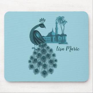 Tapis De Souris Paon bleu romantique