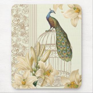 Tapis De Souris paon vintage de cage à oiseaux de lis français de
