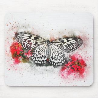 Tapis De Souris Papillon bleu abstrait d'aquarelle