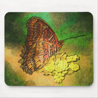 Tapis De Souris Papillon peint sur la tige de fleur