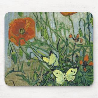 Tapis De Souris Papillons et pavots par Vincent van Gogh