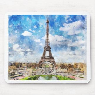 Tapis De Souris Paysage urbain Paris, Eiffel d'aquarelle vers