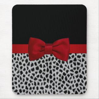 Tapis De Souris Peau noire et blanche élégante mignonne de léopard