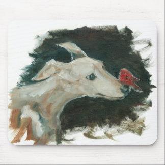 Tapis De Souris Peinture de lévrier et de pinson sur le tapis de