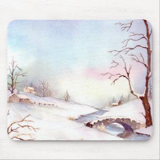 Tapis De Souris Peinture de paysage d'aquarelle de pont de Milou