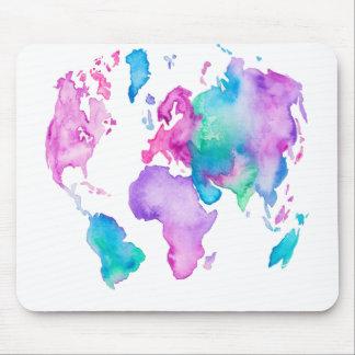 Tapis De Souris Peinture lumineuse d'aquarelle de globe de carte