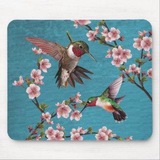 Tapis De Souris Peinture vintage de colibri de style