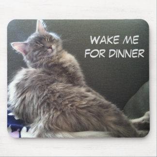 Tapis De Souris Petit somme de chat : Réveillez-moi pour le dîner