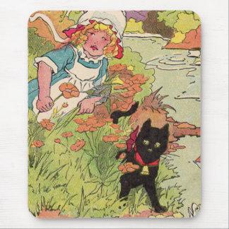 Tapis De Souris petite fille 1915 mignonne et son chat noir