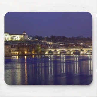 Tapis De Souris Photo de souvenir de vue de nuit de Prague