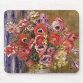 Tapis De Souris Pierre un vase à Renoir | de tulipes et d'anémones