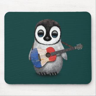 Tapis De Souris Pingouin de bébé jouant la guitare française Teal