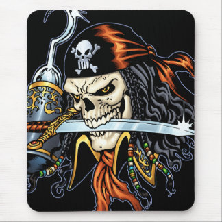 Tapis De Souris Pirate de crâne avec l'épée et le crochet par Al