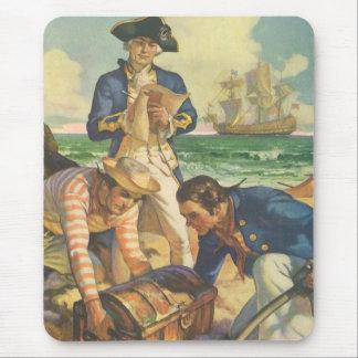 Tapis De Souris Pirates vintages de conte de fées, île de trésor