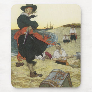 Tapis De Souris Pirates vintages, William Kidd enterrant le trésor