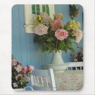 Tapis De Souris Pivoines, vase et Tableau, cottage de Martha's