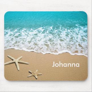 Tapis De Souris Plage avec des étoiles de mer sur le sable
