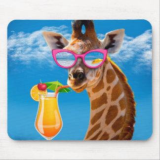 Tapis De Souris Plage de girafe - girafe drôle