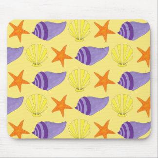 Tapis De Souris Plage jaune d'étoiles de mer de conque de Shell de