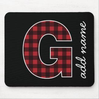 Tapis De Souris Plaid noir et rouge de la lettre G de monogramme -