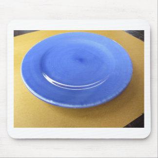 Tapis De Souris Plat en céramique bleu de couleur vide sur le