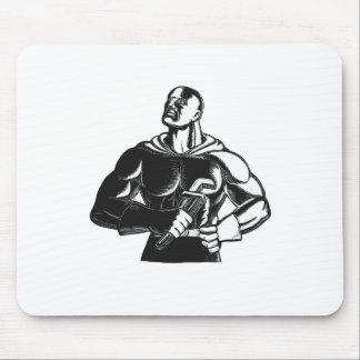 Tapis De Souris Plombier de super héros avec la gravure sur bois