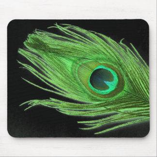 Tapis De Souris Plume verte de paon sur le noir