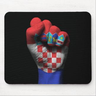 Tapis De Souris Poing serré augmenté avec le drapeau croate