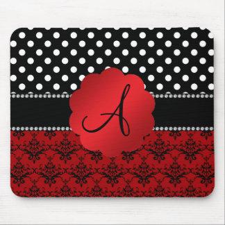Tapis De Souris Pois rouge de noir de damassé de monogramme
