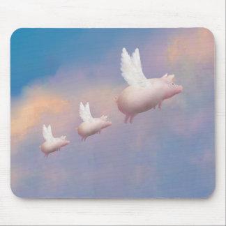 Tapis De Souris porc de vol avec des porcelets de vol