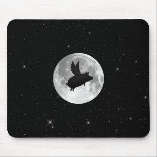 Tapis De Souris porc de vol de pleine lune