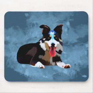 Tapis De Souris Portrait d'art d'aquarelle de chien de border