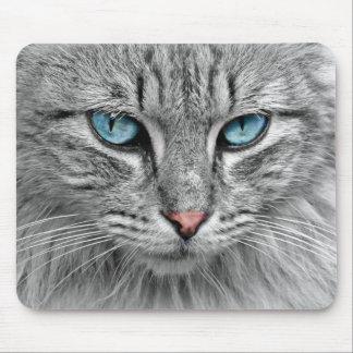 Tapis De Souris Portrait lumineux de chat du monochrome | des yeux