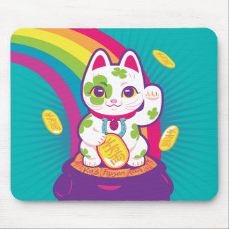 Tapis De Souris Pot de bonne chance de Maneki Neko de chat d'or