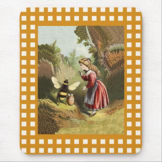 Tapis De Souris Pot vintage de miel de petite fille d'abeille