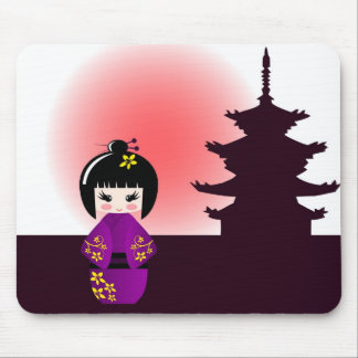Tapis De Souris Poupée de Kokeshi et temple japonais