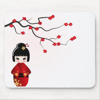 Tapis De Souris Poupée de Kokeshi sous la branche de Sakura