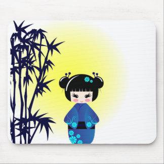 Tapis De Souris Poupée et bambou de Kokeshi