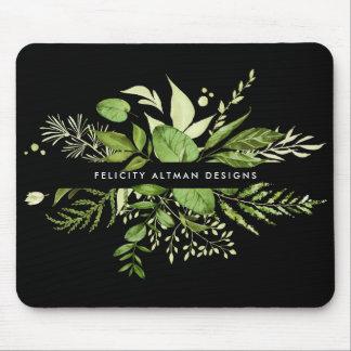Tapis De Souris Pré sauvage   noir et botanique vert personnalisé